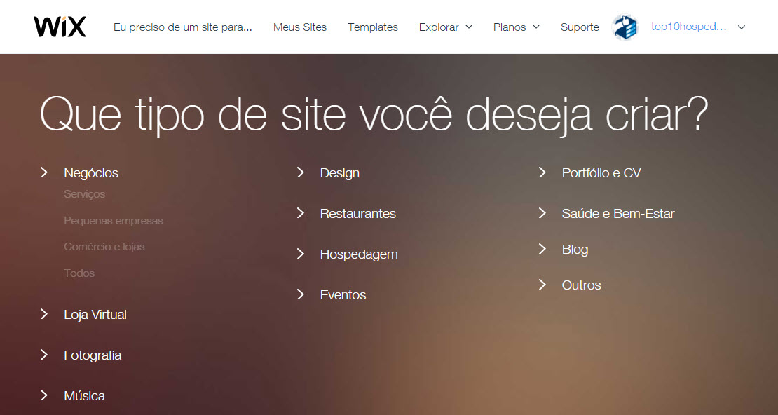 Escolher a categoria do site