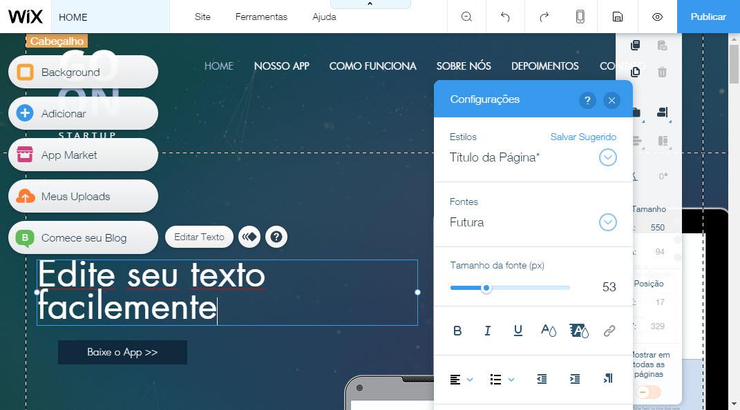 O editor de site Wix