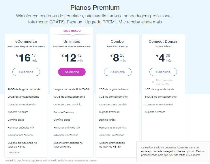 Tarifas dos planos premium Wix