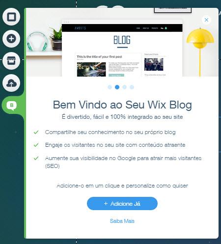 Wix funcionalidade de blog