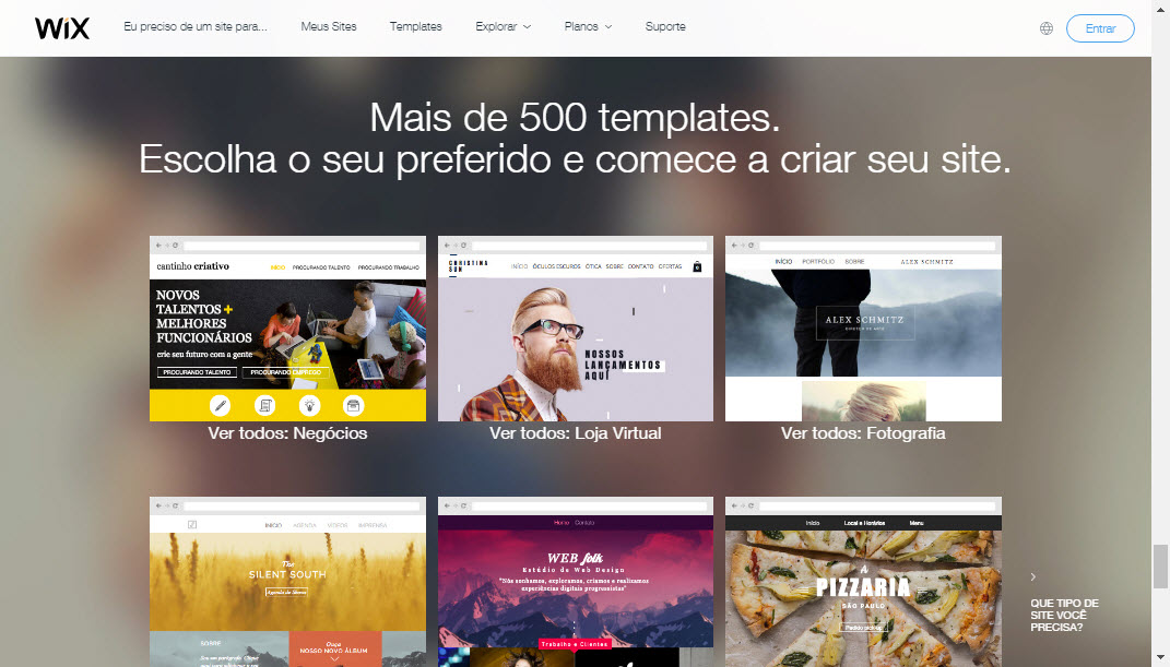 Temas e templates de criação de sites